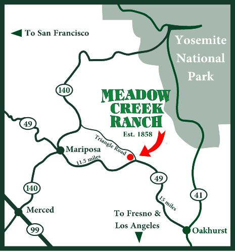 Map to Meadow Creek Ranch Inn bed and breakfast near Yosemite National Park